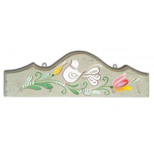 Cuier, suport chei - din lemn cu model cu pasare si flori, verde deschis (31x10cm)