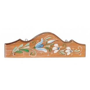 Cuier, suport chei - din lemn cu model cu flori, maro (31x10cm)