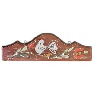 Cuier, suport chei - din lemn cu model cu pasare si flori, maro (31x10cm)