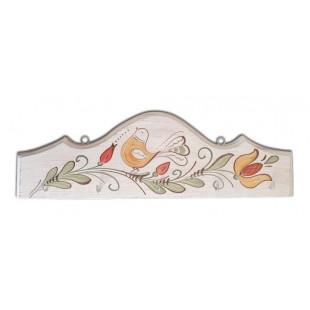 Cuier, suport chei - din lemn cu model cu pasare si flori, alb (31x10cm)