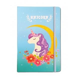 Caiet pentru femei - Unicorn, albastru/turcoaz ( 9x14x1.5 cm )