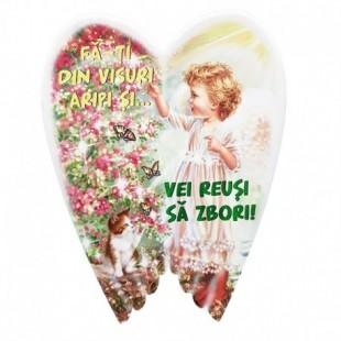 Aplica aripi ceramica - Fa-ti din visuri aripi..(16 x 20 cm)