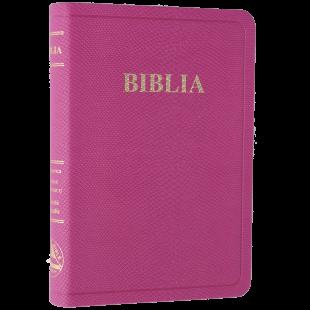 Biblia din piele, marime medie, roz, fara fermoar, margini aurii, cuv. lui Isus in rosu [052 P]