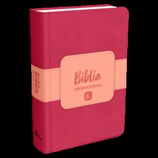 Biblia adolescentului - marime mica, coperta imitatie piele, roz inchis, trad. Cornilescu