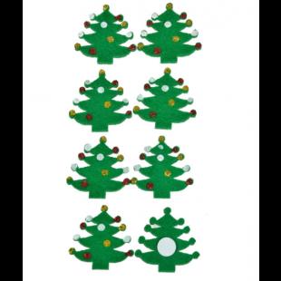 Autocolante decorative de Craciun - Brazi verzi, 8 buc.