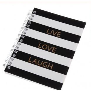 Carnetel A6 cu spirala, alb-negru - LIVE LOVE LAUGH