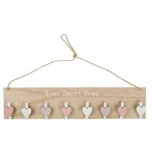 Cuier din lemn decorativ, bej, 8 cleme - Home Sweet Home (40x9cm)