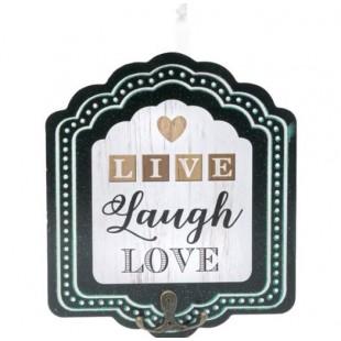 Cuier din lemn negru, 2 agatatori - LIVE Laugh LOVE (17X20cm)