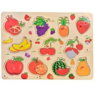Puzzle din lemn - Fructe - Activitati pentru copii (3+)