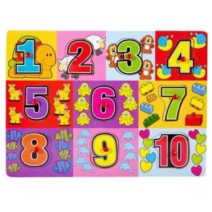Puzzle din lemn - Numere - Activitati pentru copii (3+)