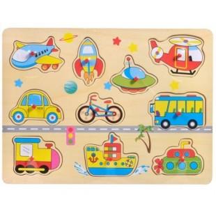 Puzzle din lemn - Mijloace de transport - Activitati pentru copii (3+)