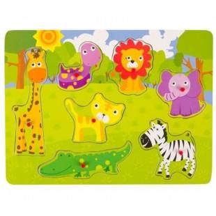 Puzzle din lemn - Animale Zoo - Activitati pentru copii (3+)
