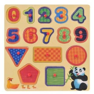 Puzzle din lemn - Numere si forme - Activitati pentru copii (3+)