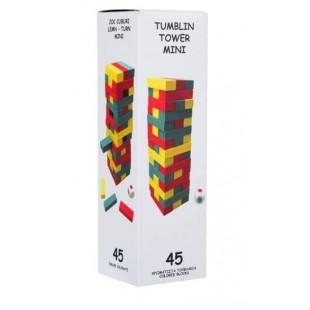 Color mini tumblin TOWER - Joc cu cuburi din lemn colorate pentru copii (6+)