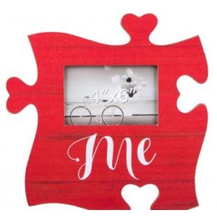 Rama foto din lemn, rosie, Puzzle - Me - 1 poza de 15x10cm