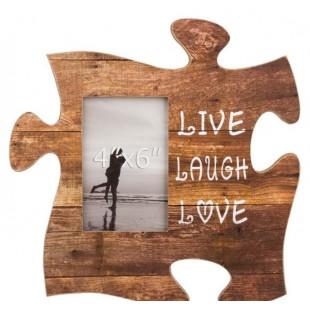 Rama foto din lemn, maro, Puzzle - LIVE LAUGH LOVE - 1 poza de 10x15cm