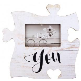 Rama foto din lemn, vintage, Puzzle - You - 1 poza de 15x10cm