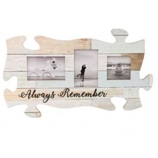 Rama foto din lemn, vintage, Puzzle - Always Remember - 3 poze (55x30cm)