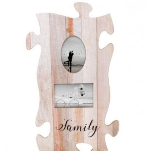 Rama foto din lemn, vintage, Puzzle - Family - 2 poze (32x55cm)