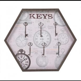 Cuier din lemn hexagonal pentru chei, 6 agatatori - Keys (33x29cm)