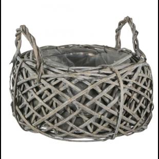 Masca pentru ghiveci - Cos cu manere, gri (21x12cm)