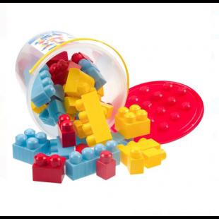 Set cuburi de constructie in galeata, albastru-galben-rosu, 48 de piese