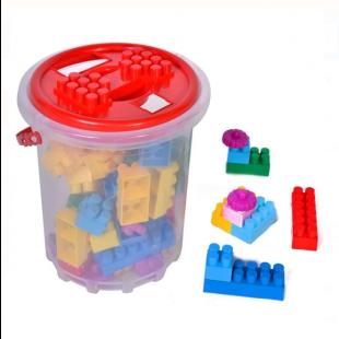 Set cuburi de constructie in galeata, multicolor, 48 de piese - Bildo