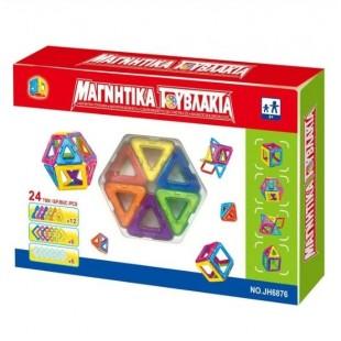 Cuburi magnetice de construit din plastic , multicolore, 24 de piese