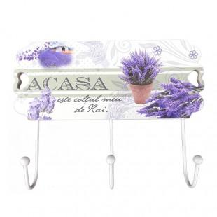 Cuier lemn flori lavanda - Acasa este coltul..