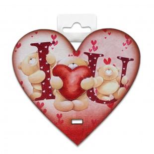 Placheta lemn - I love you (10 x 9.5 cm)