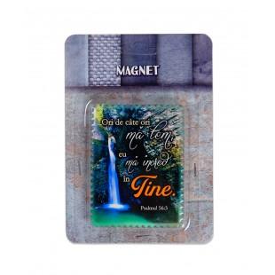 """Magnet ceramic cu mesaj creștin - """"Ori de cate ori ma tem, eu ma incred in Tine"""" (Psalmul 56:3)"""