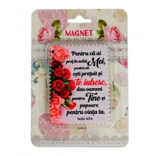 """Magnet ceramic cu mesaj creștin - """"Pentru ca ai pret in ochii Mei..."""" (Isaia 43:4)"""
