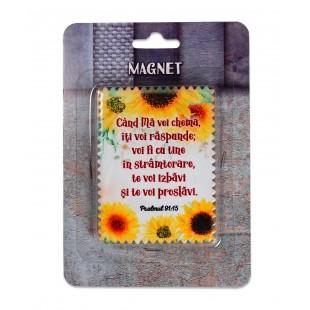 """Magnet ceramic cu mesaj creștin - """"Cand Ma vei chema, iti voi raspunde..."""" (Psalmul 91:15)"""