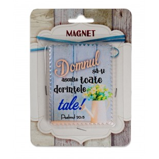 "Magnet ceramic cu mesaj creștin - ""Domnul sa-ti asculte toate dorintele tale!"" (Ps 20:5)"
