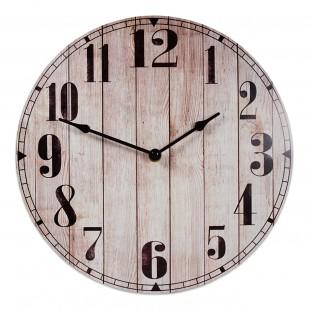 Ceas de perete rotund din lemn, maro (30cm)