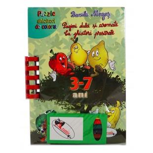Pagini dulci si aromate - Cu ghicitori si presarate 3-7 ani - Puzzle ghicitori de colorat