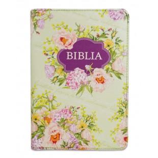 Biblie marime medie, piele ecologică, model verde floral, fermoar, index, margini argintii, hărți, cuv. lui Isus cu roșu [055 ZTI F]