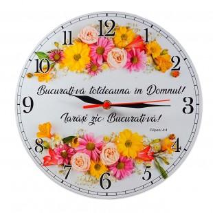 """Ceas perete rotund cu mesaj creștin (30 cm) - """"Bucurați-vă totdeauna în Domnul..."""""""
