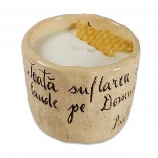 """Lumânare din ceara naturală de soia turnată manual cu mesaj - """"Toată suflarea..."""" (marimea M)"""