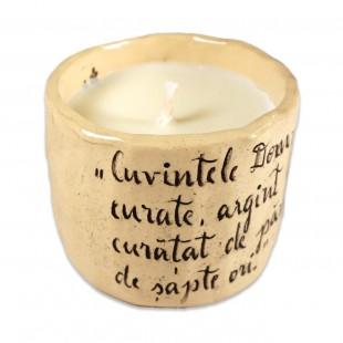 """Lumânare din ceara naturală de soia turnată manual cu mesaj - """"Cuvintele Domnului..."""" (marimea M)"""