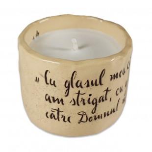 """Lumânare din ceara naturală de soia turnată manual cu mesaj - """"Cu glasul meu..."""" (marimea M)"""