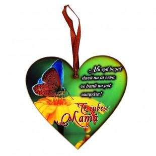 Tablou motivational inima (12x11cm) - Te iubesc Mamă