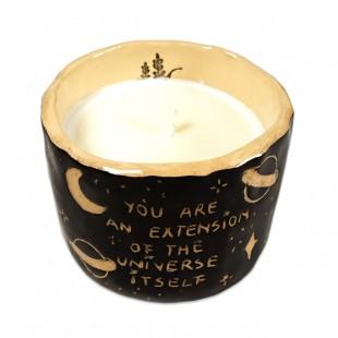 """Lumânare din ceara naturală de soia turnată manual cu mesaj - """"You are an extension..."""" (marimea M)"""