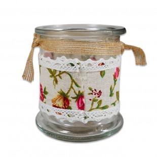 Borcan de sticla decorativ pentru lumanare cu maner
