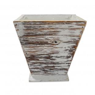 Ghiveci din lemn - Alb Vintage (11×12 CM)