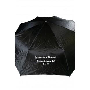 Umbrela adulti pliabila - Încrede-te în Domnul (negru)