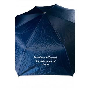 Umbrela adulti pliabila - Încrede-te în Domnul (bleumarin)