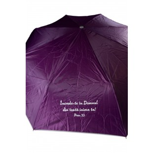 Umbrela adulti pliabila - Încrede-te în Domnul (mov)