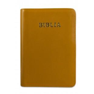 Biblie din piele, marime medie, culoare mustariu, fermoar, index, margini aurii, cuv. lui Isus cu rosu [SB 057 PFI]