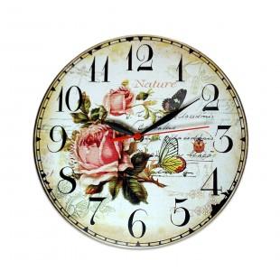 Ceas rotund perete Trandafiri  - 28 x 28 cm
